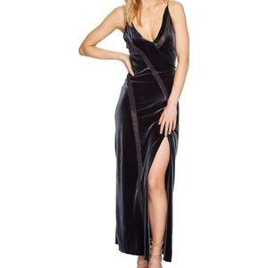 Free People Charcoal Velvet Slit Slip Maxi Dress